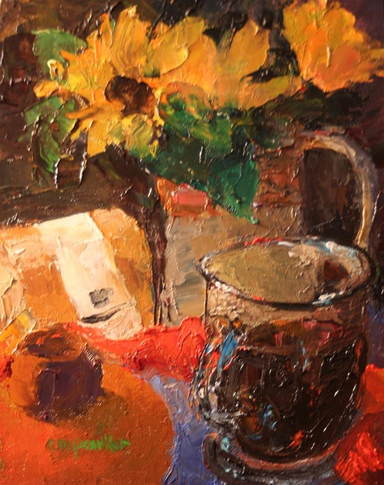 """Still Life with Flowers and Coffee"" original fine art by Christine Parker"