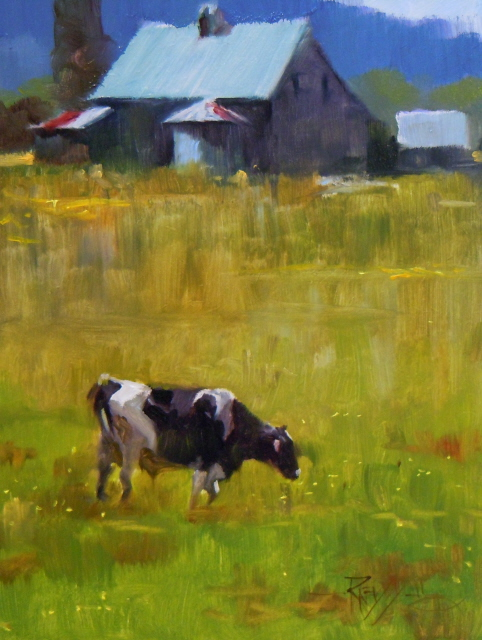 """""""Home Pasture  cows in the landscape, oil painting.."""" original fine art by Robin Weiss"""