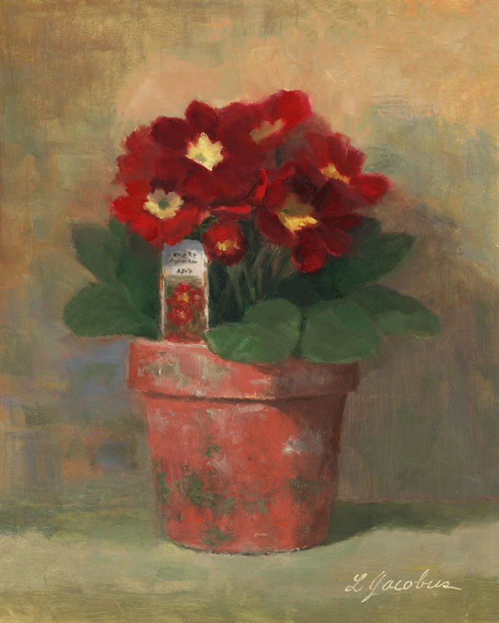 """Primroses in Red"" original fine art by Linda Jacobus"