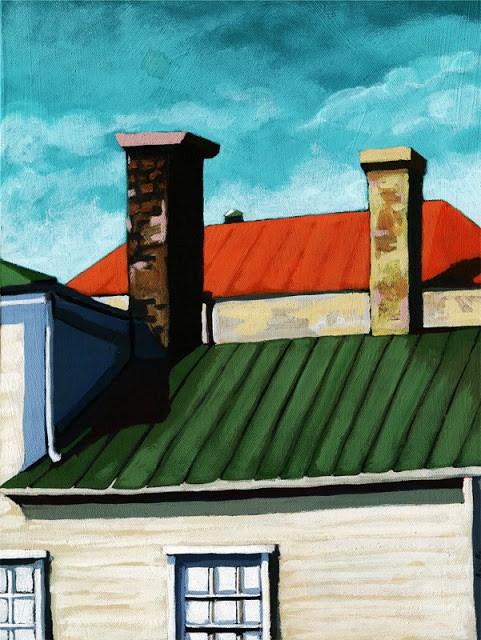 """Neighborhood rooftops urban city houses painting by L. Apple"" original fine art by Linda Apple"