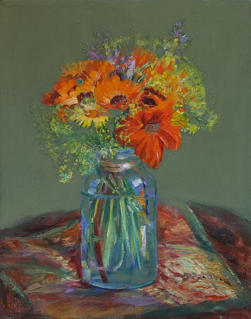 """Flowers in a Mason Jar"" original fine art by Denise Maxwell"