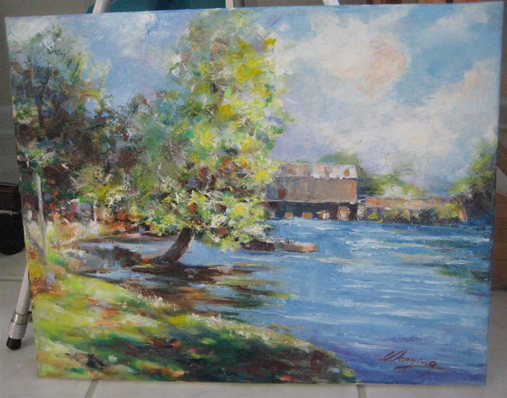 """""""SPRING IN THE aUGUSTA CANEL"""" original fine art by Wenqing Xu"""