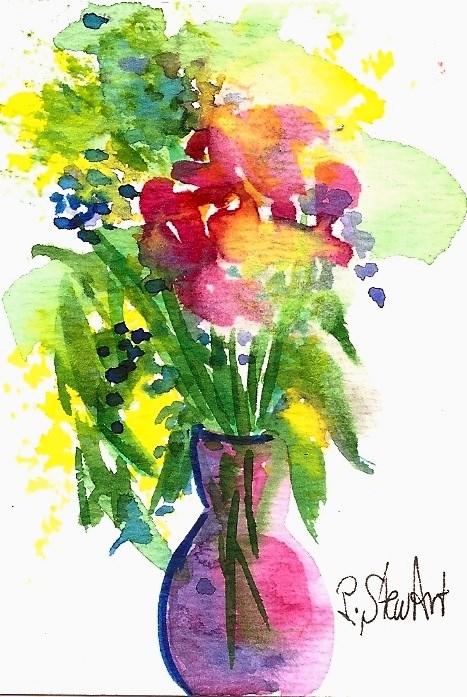 """ACEO Vase of Spring Fantasy Flowers, Loose style Watercolor Art by Penny StewArt"" original fine art by Penny Lee StewArt"