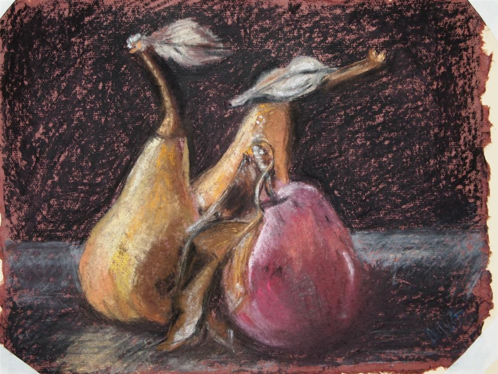 """""""A Pear and a Pair"""" original fine art by Michelle Wells Grant"""