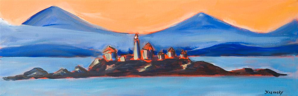 """Green Island Lighthouse, Canada, BC"" original fine art by Yulia Kazansky"