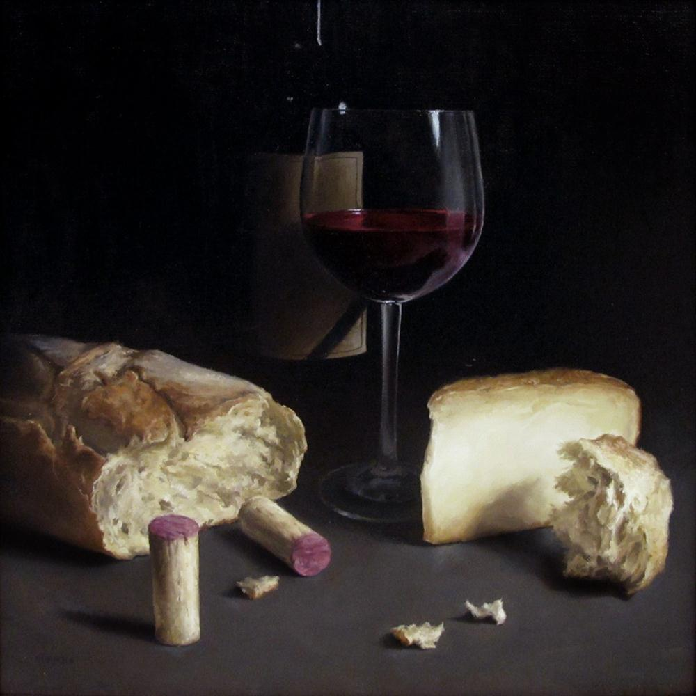 """Wine with Cheese and Bread"" original fine art by Michael Naples"