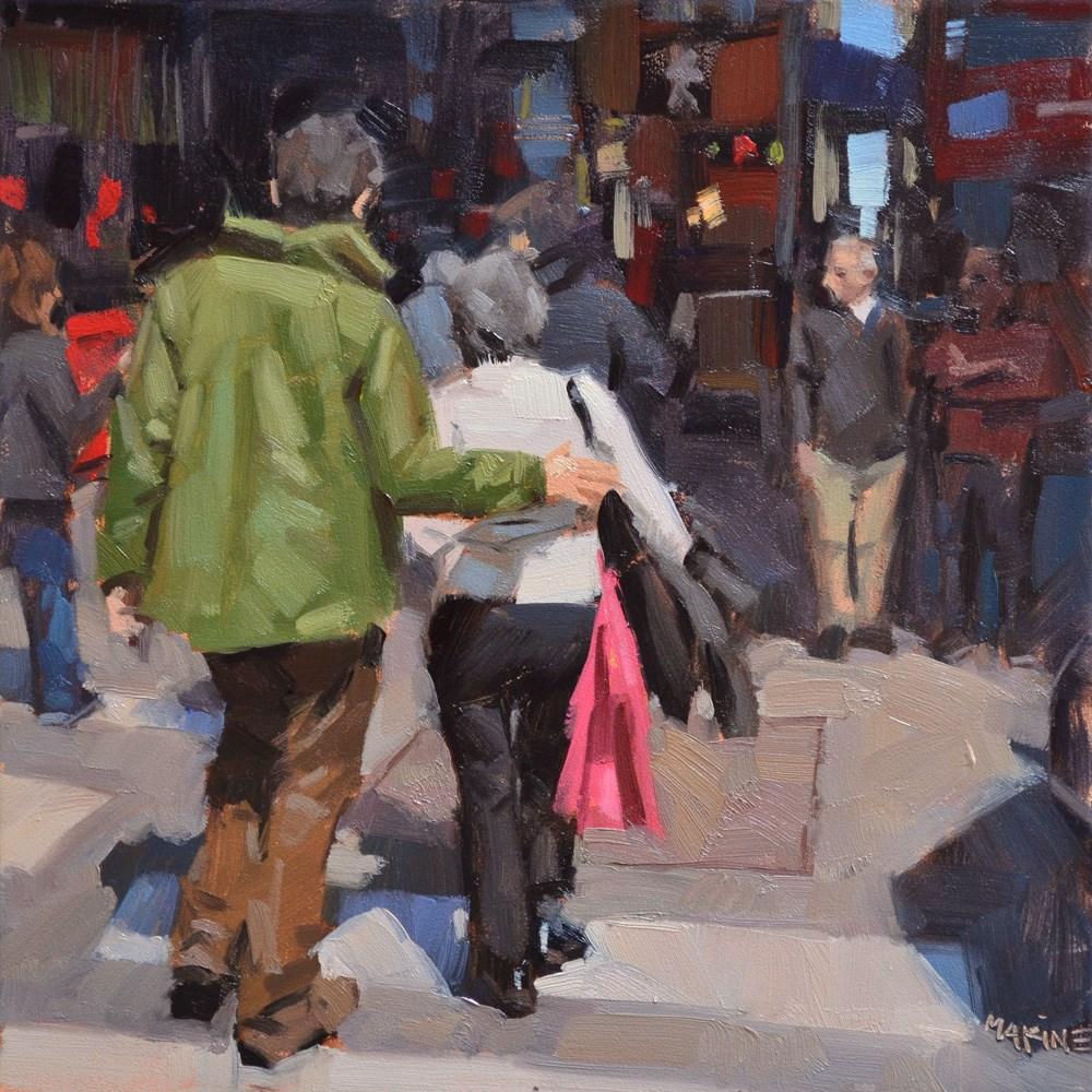 """""""Getting Through the Hubbub"""" original fine art by Carol Marine"""