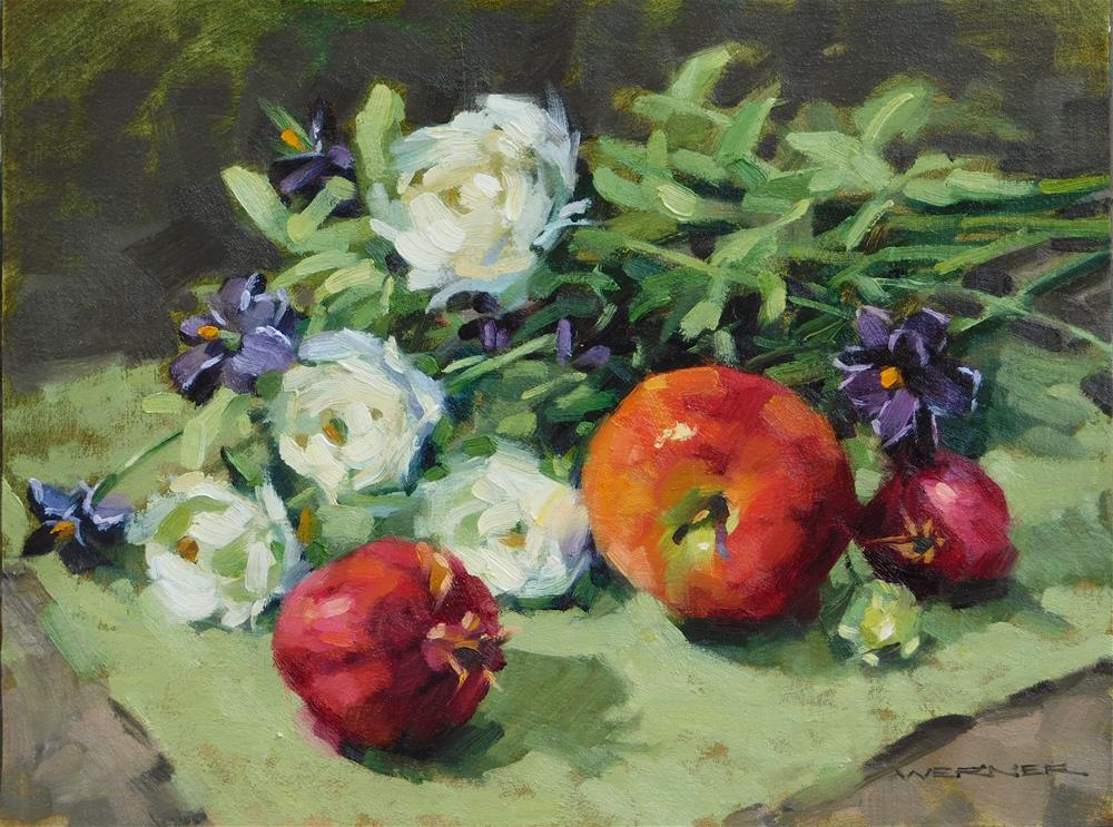 """""""Bouquet With Apple"""" original fine art by Karen Werner"""