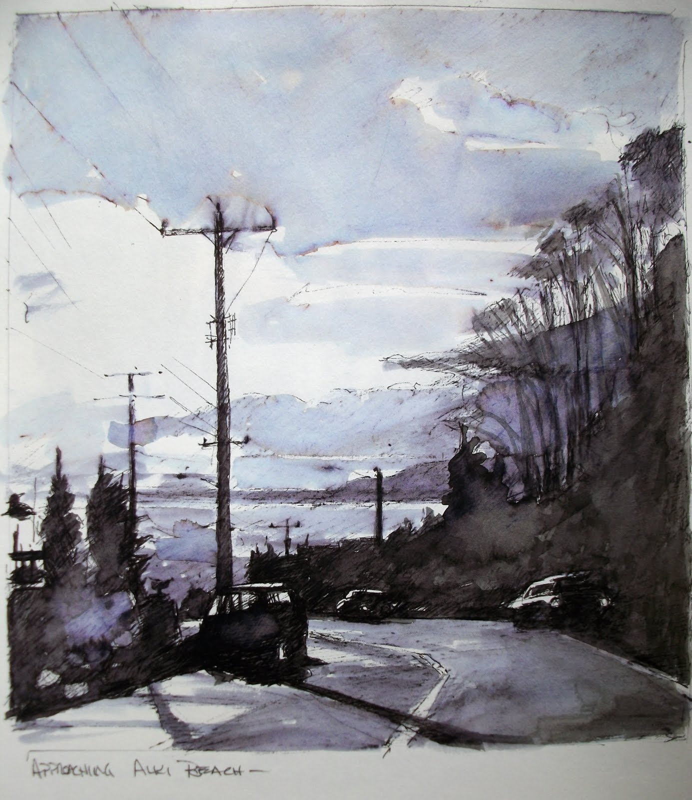 """""""Approaching Alki  sketches from 2011"""" original fine art by Robin Weiss"""