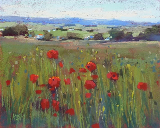 """A French Landscape with Poppies in 10 Steps"" original fine art by Karen Margulis"