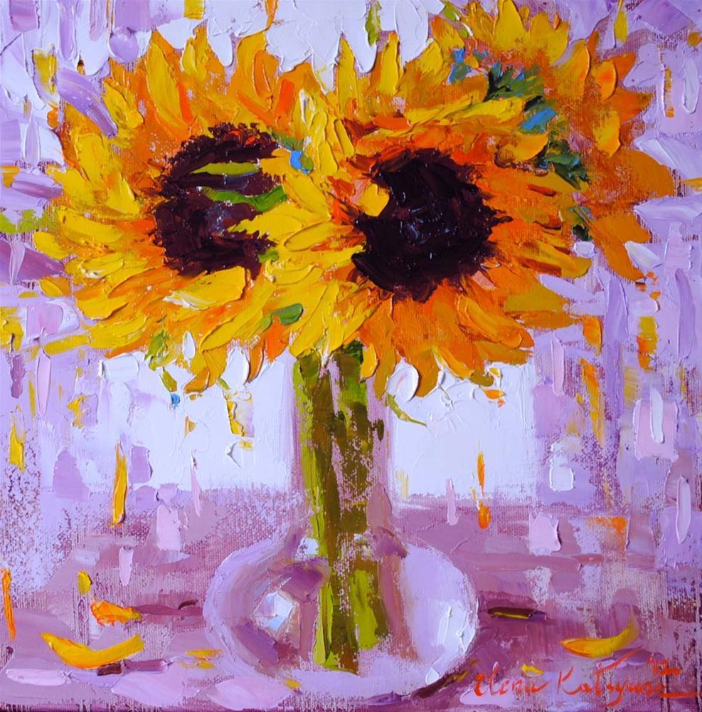 """Sunflowers in the Morning Light"" original fine art by Elena Katsyura"