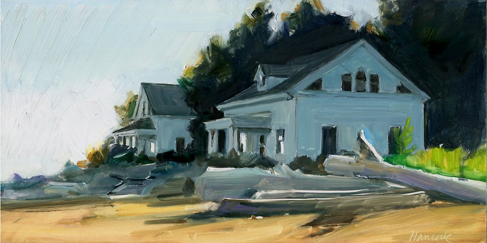 """""""Lighthouse Keepers Houses"""" original fine art by Gretchen Hancock"""