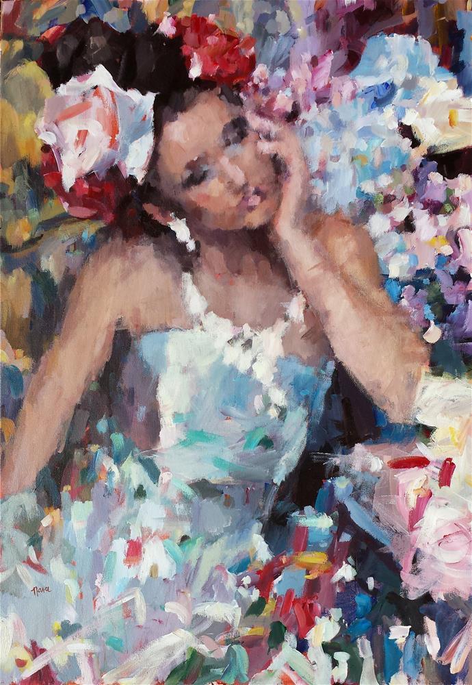 """Flowers in Her Hair"" original fine art by Nava Judith"