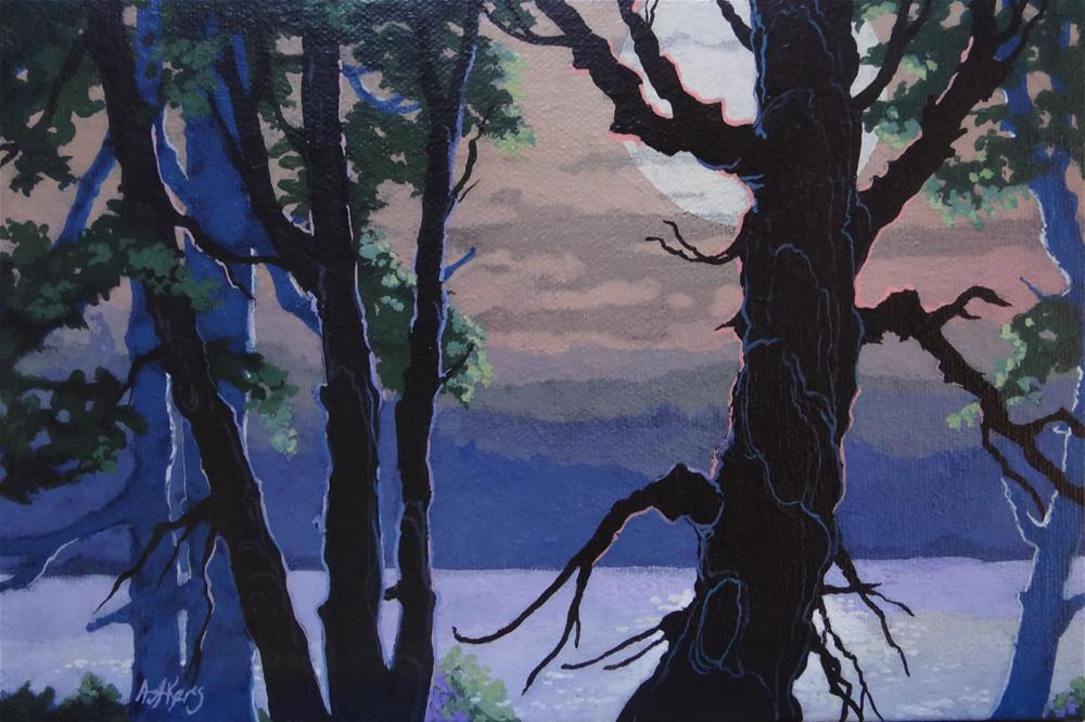 """River Edge Moon Moorcroft Musings Series"" original fine art by Alida Akers"
