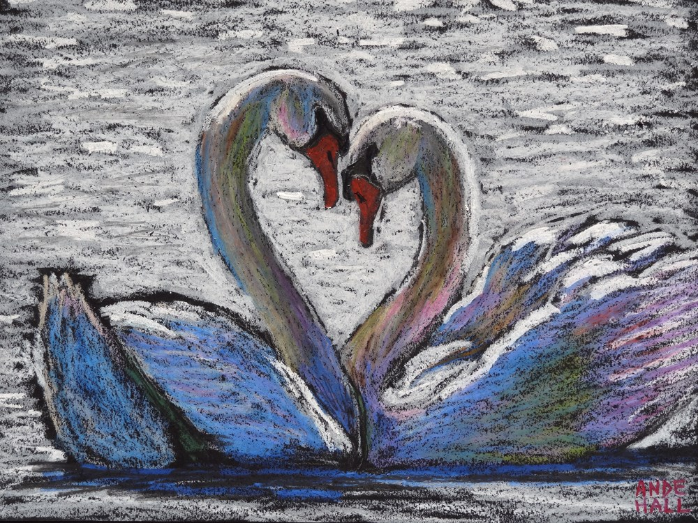 """Swan Sweethearts"" original fine art by Ande Hall"