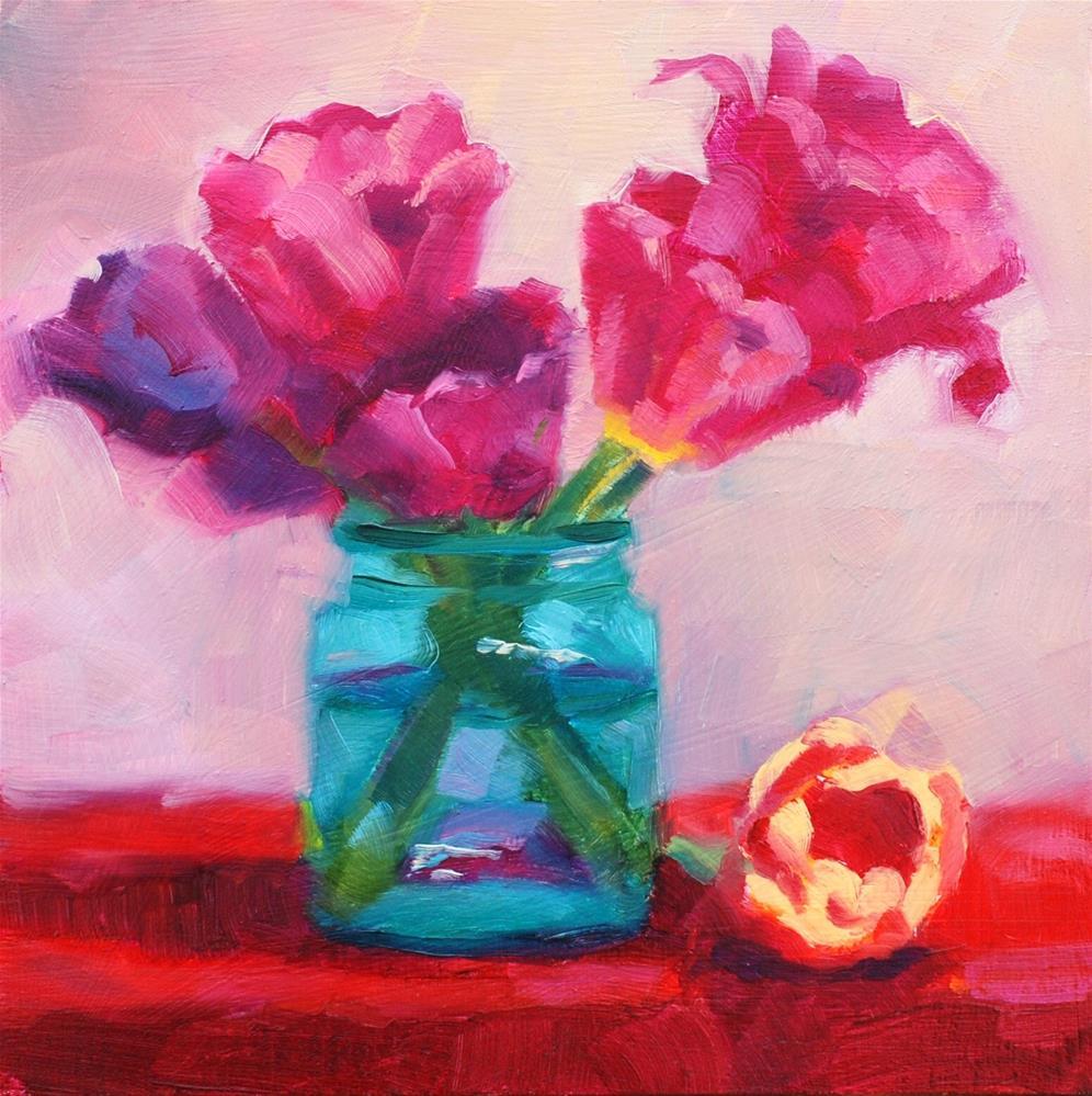 """""""No. 784 Blue Jar with Tulips"""" original fine art by Susan McManamen"""