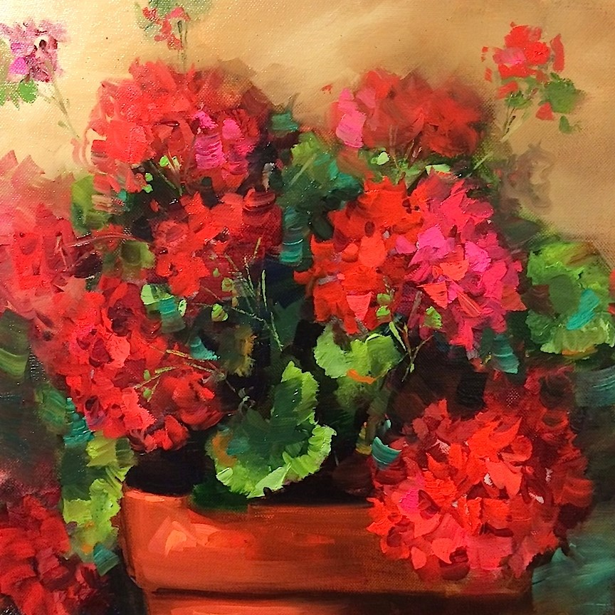 """Three Alarm Red Geraniums"" original fine art by Nancy Medina"