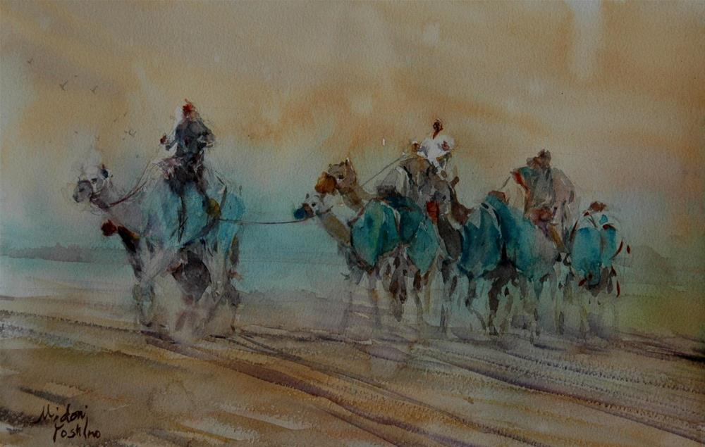 """From Al Ain Camel racetrack"" original fine art by Midori Yoshino"