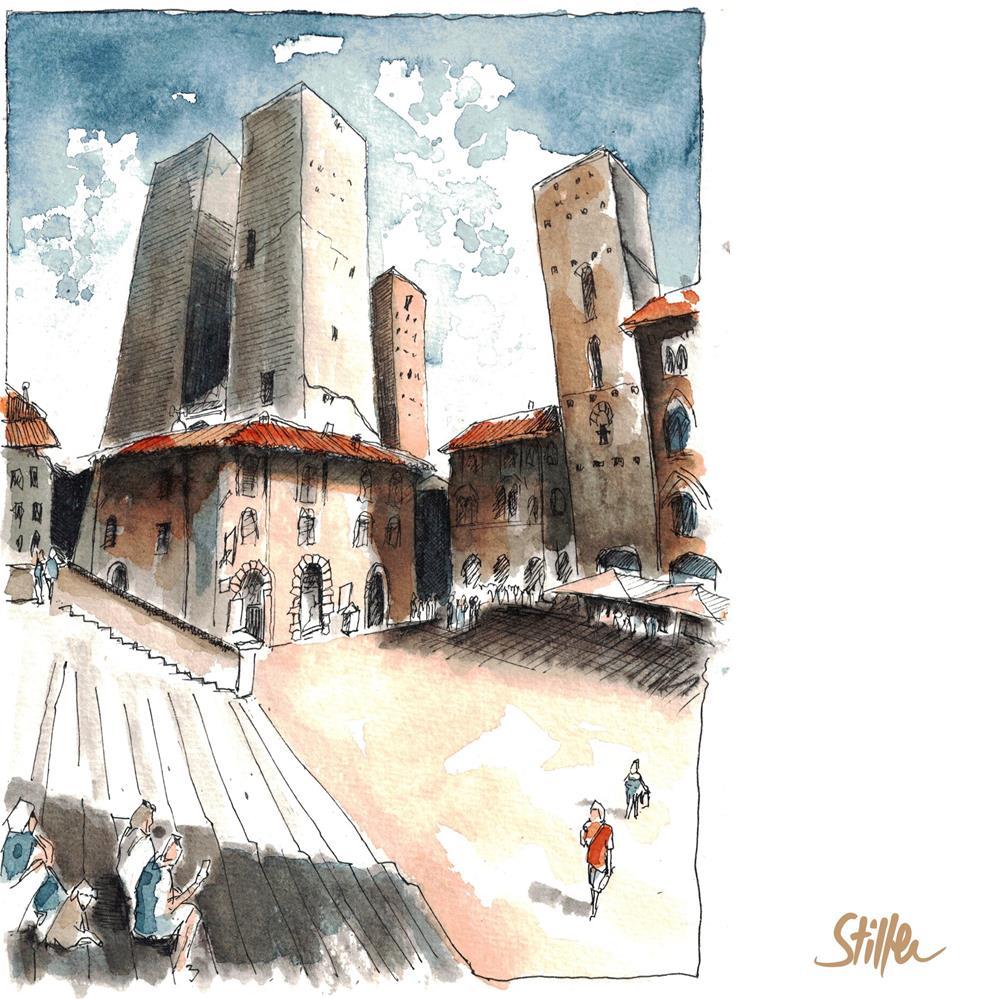 """San Gimignano"" original fine art by Dietmar Stiller"