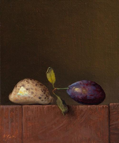 """Pohnpeian Cowry Shell and Italian Plum (Yin & Yang)"" original fine art by Abbey Ryan"