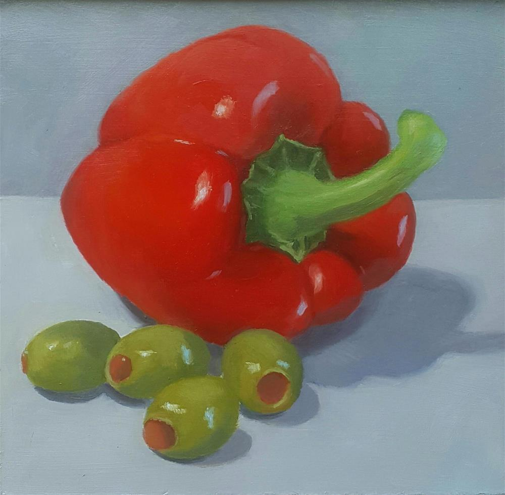 """Red Bell with Olives"" original fine art by Karen Johnston"