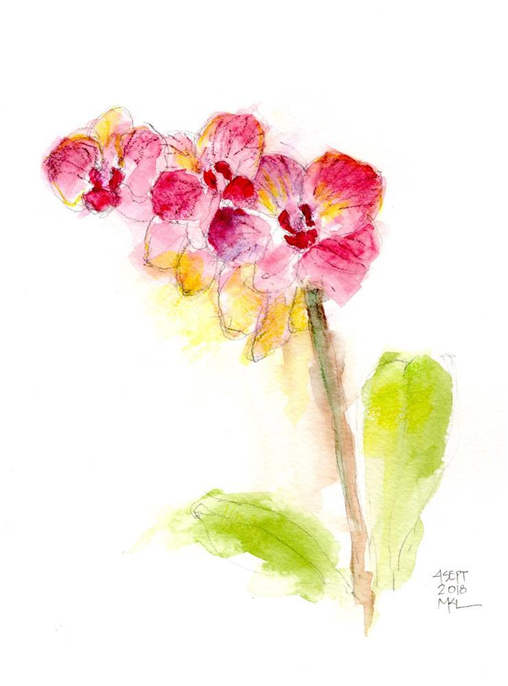 """Condolences Orchids"" original fine art by Marlene Lee"