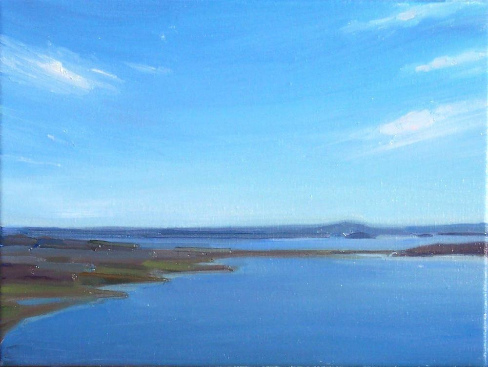 """Afternoon View from Blanchard MT. seascape,oil on canvas,9x12,price$500"" original fine art by Joy Olney"