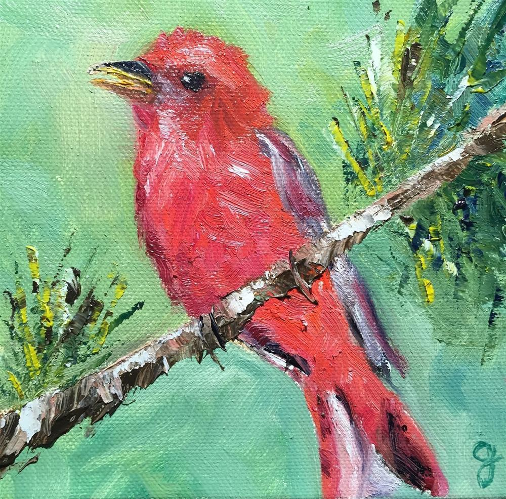 """Summer Tanager"" original fine art by Gayle Lambeth"