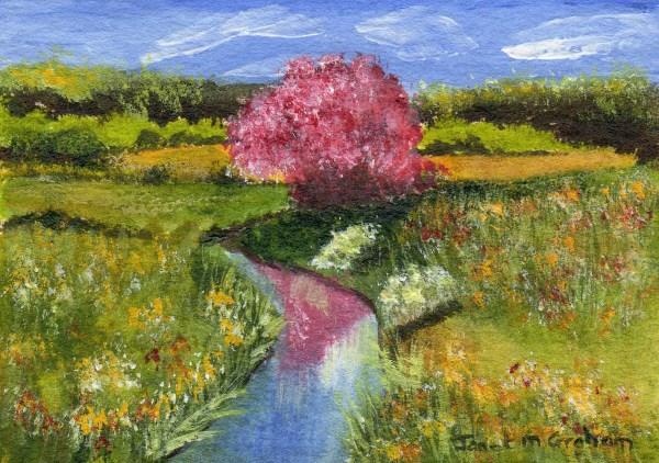 """Flowers in Meadow ACEO"" original fine art by Janet Graham"