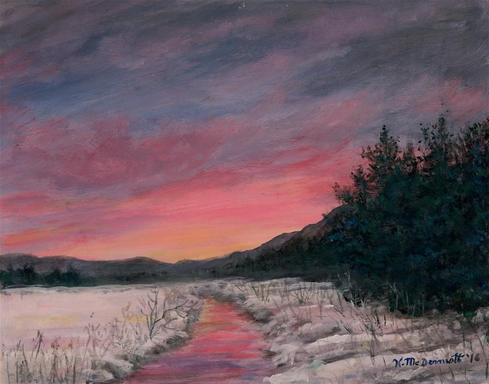 """Winter Sundown"" original fine art by Kathleen McDermott"