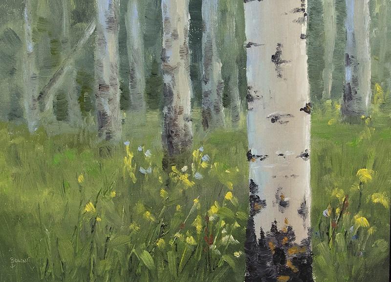 """Aspen Trunks"" original fine art by Bonnie Bowne"