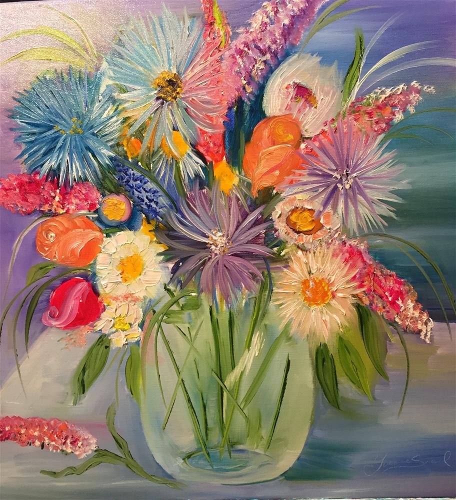 """Fun Flowers"" original fine art by Yvonne Snead"
