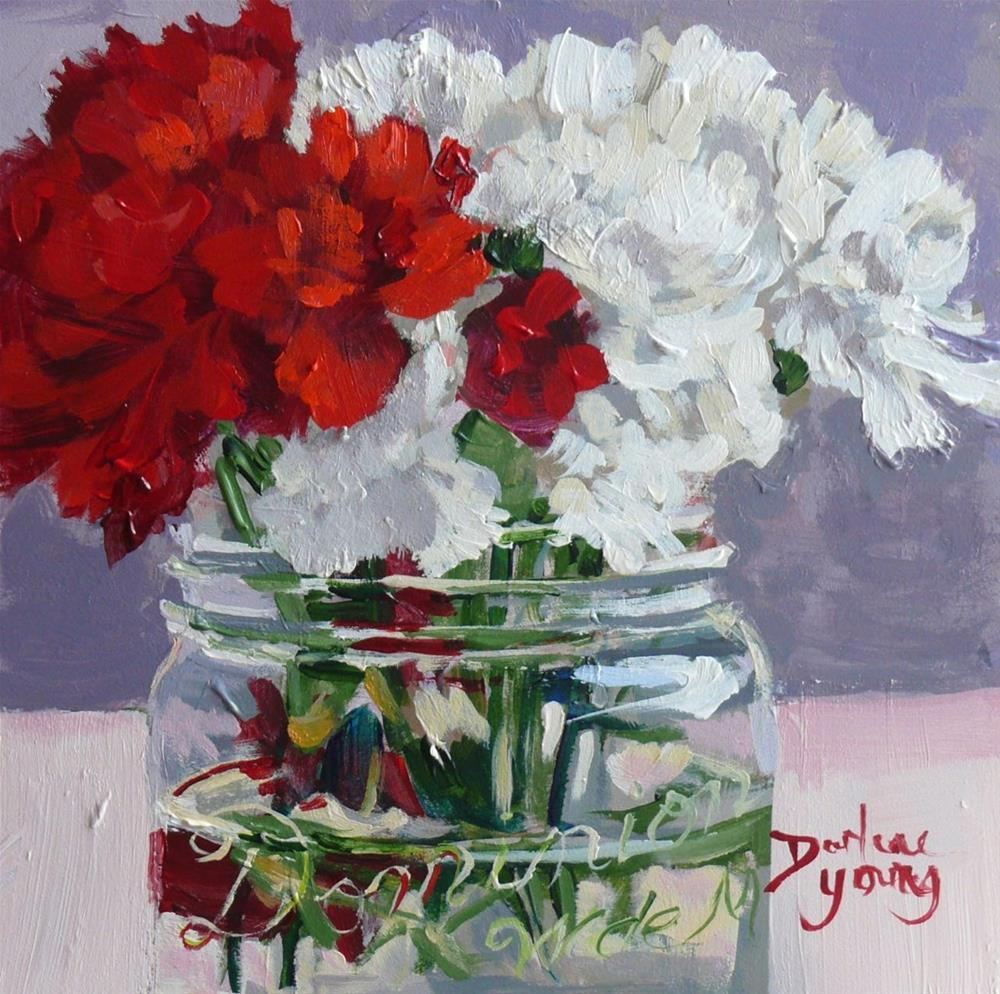 """858 Amazing Carnations, oil on board, 6x6"" original fine art by Darlene Young"