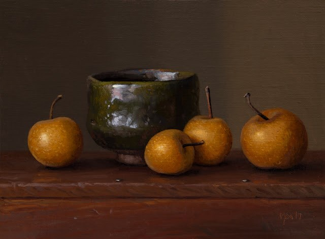 """""""South Korean Bowl with Asian Pears (larger painting)"""" original fine art by Abbey Ryan"""