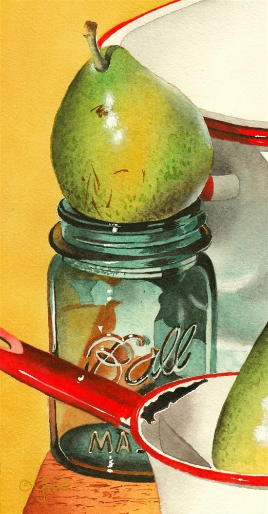 """""""Ball Jar with Pear"""" original fine art by Jacqueline Gnott, TWSA, WHS"""