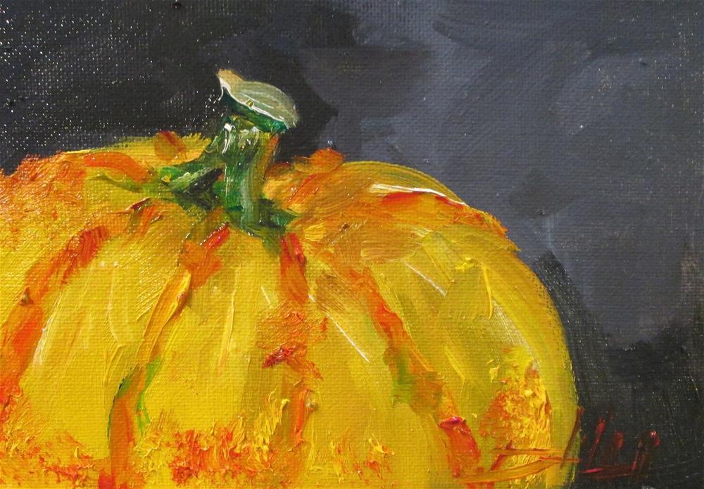 """Yellow Pumpkin"" original fine art by Delilah Smith"