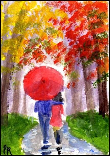 """""""Red Umbrella in Autumn"""" original fine art by Patricia Ann Rizzo"""