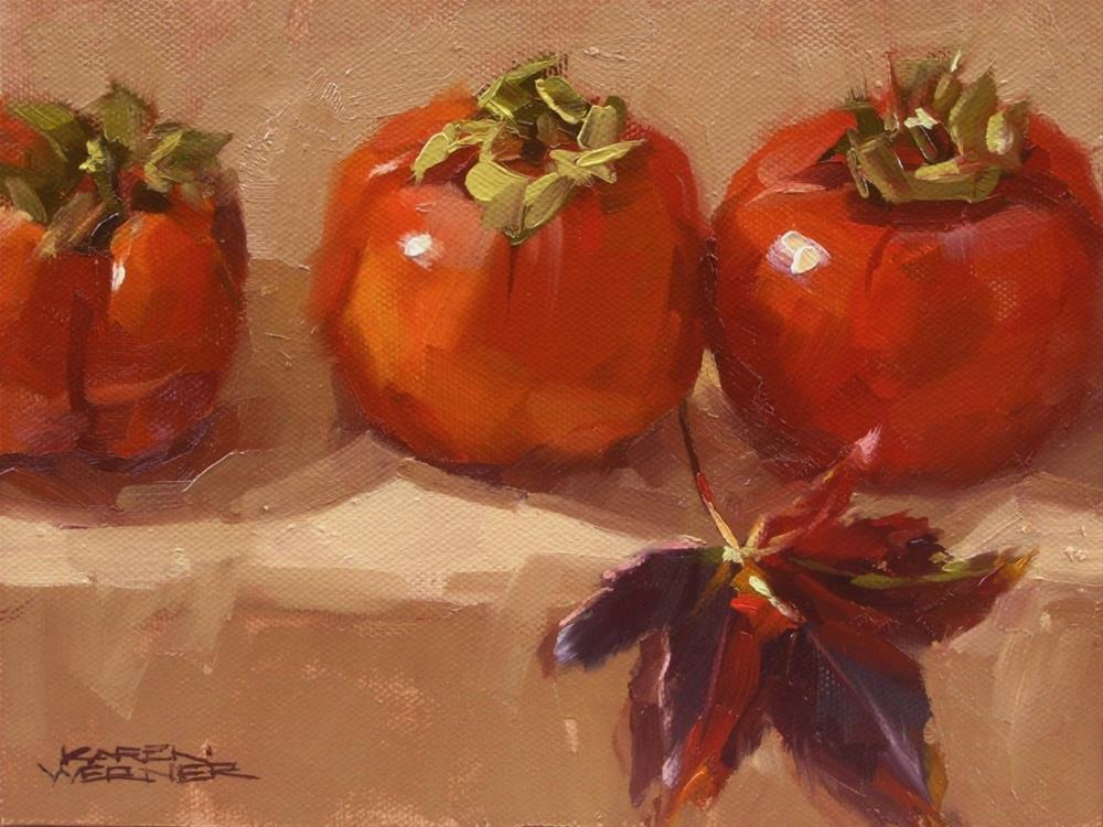 """Persimmons & Leaf"" original fine art by Karen Werner"