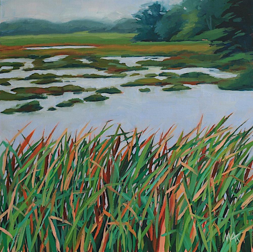 """Foggy Marsh"" original fine art by Mary Anne Cary"