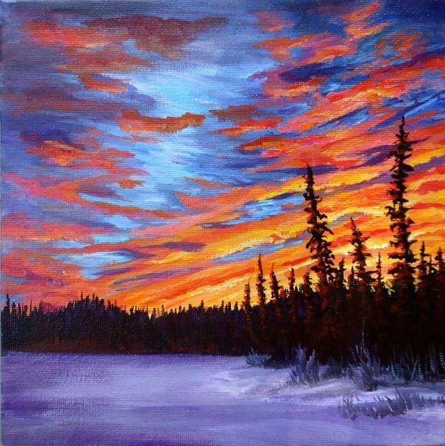 """Swim Lake Yukon, Sunset"" original fine art by Jackie Irvine"
