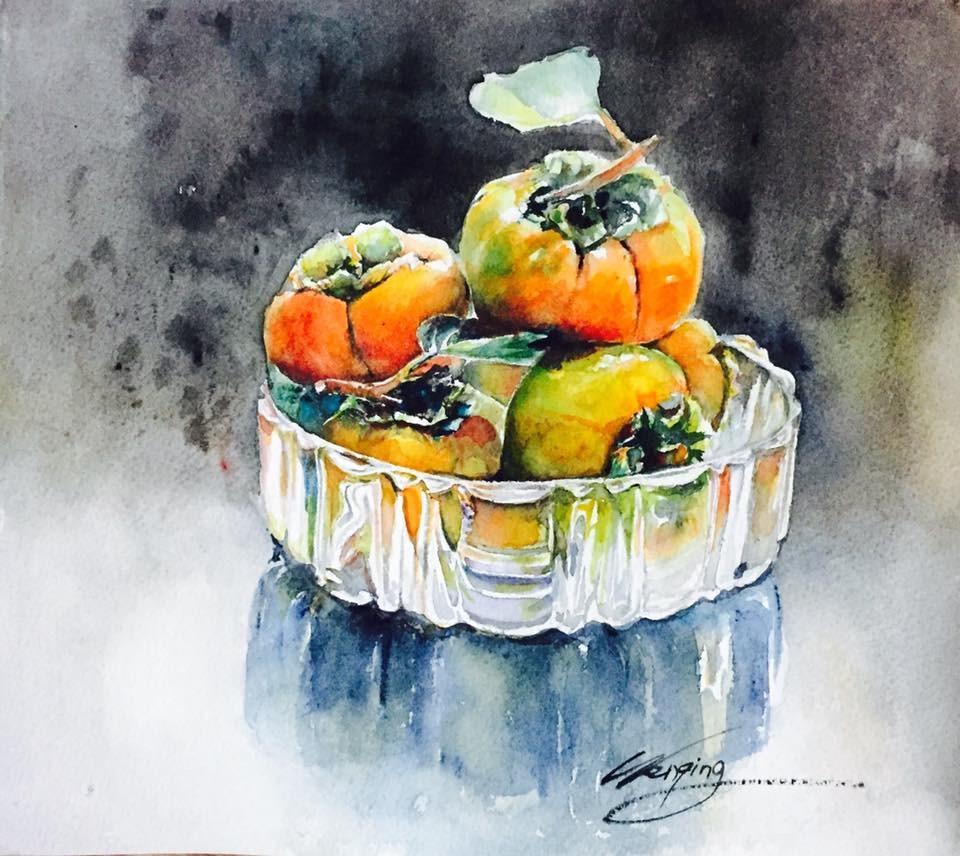 """my persimmon"" original fine art by Wenqing Xu"