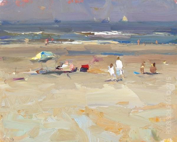 """Seascape Plein air 2 in White"" original fine art by Roos Schuring"