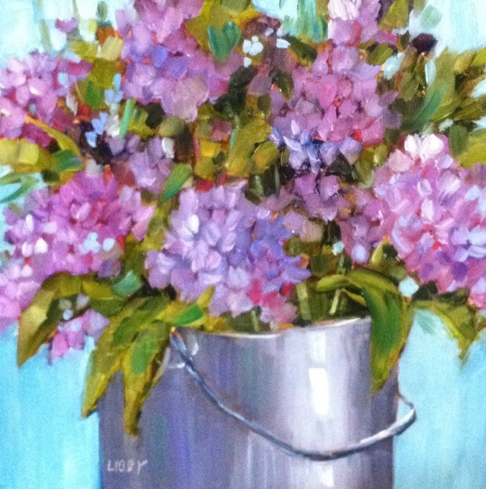 """Lilac Bucket"" original fine art by Libby Anderson"