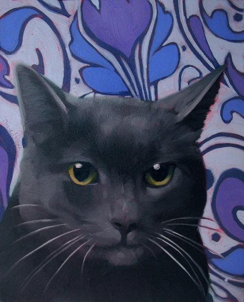 """Boy Cat on Blue Swirl oil painting by Hoeptner"" original fine art by Diane Hoeptner"