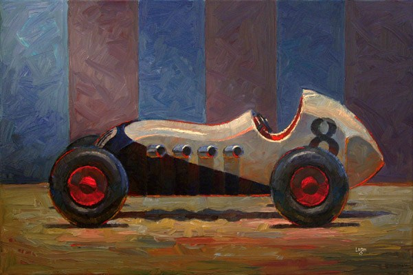 """Toy Roadster White (the Larger)"" original fine art by Raymond Logan"
