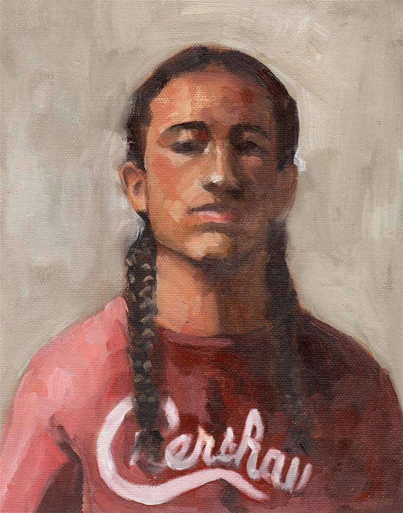 """""""Young Man with Pigtails"""" original fine art by Marlene Lee"""