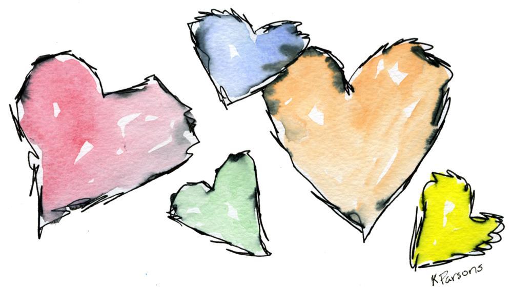 """Scritchy Scratchy Hearts"" original fine art by Kali Parsons"