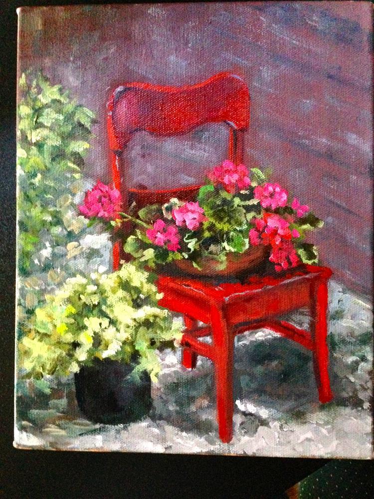 """The Cherry Stand Chair"" original fine art by Linda Dunbar"
