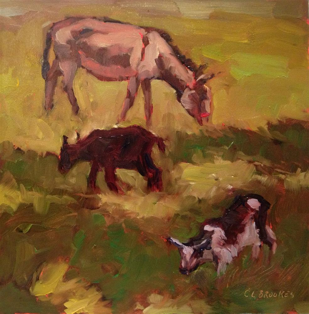 """""""Two Goats and a Donkey, Day 27"""" original fine art by Claudia L Brookes"""