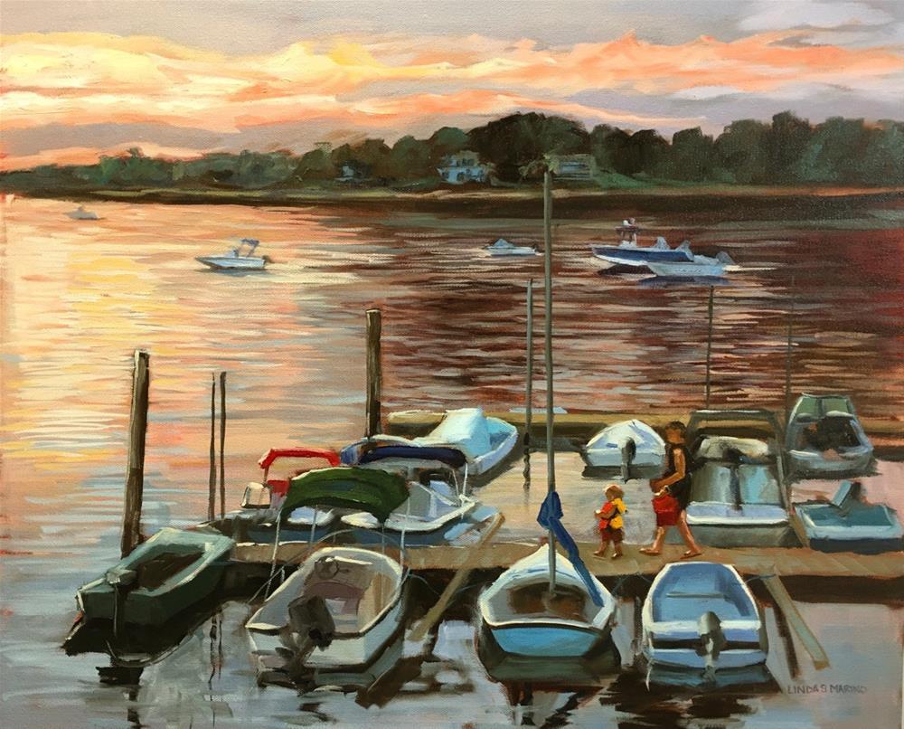 """Little Skipper's Sunset Sail"" original fine art by Linda Marino"